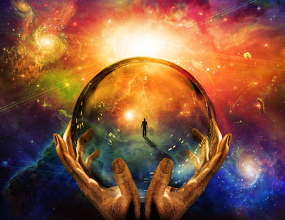 crystal ball with universe behind it